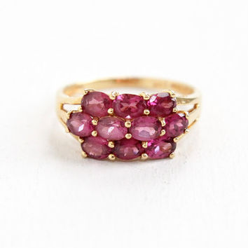 Estate 14k Yellow Gold Pink Rhodolite Garnet Ring - Size 7 Pink Gemstone Fine Cluster Jewelry