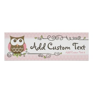 Custom Baby Shower Owl banner
