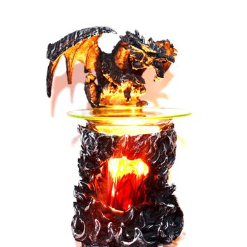 A Majestic & Mythical Winged Black Dragon Electric Oil & wax Warmer Plug in Lamp