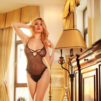 Hot Deal Cute On Sale Sexy Ladies Black See Through Lace Exotic Lingerie [6595821443]