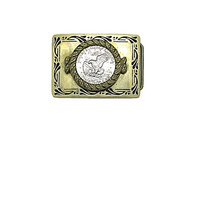 Solid Brass Belt Buckle with Eisenhower Dollar Coin Vintage Apollo 11 Mission Insignia BBB Belt Buckle | Flying Eagle Buckle | Baron Buckle