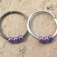 Purple Beaded Cartilage Hoop Earring Septum Tragus Nose Ring Upper Ear Piercing 20 Gauge