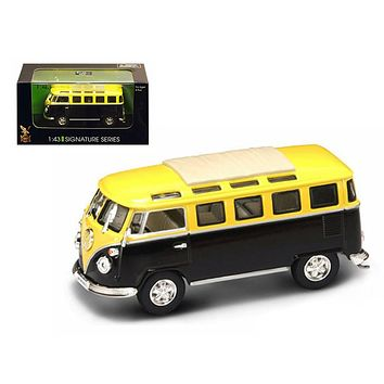 1962 Volkswagen Microbus Van Bus Yellow/Black 1/43 Diecast Car by Road Signature