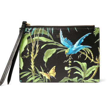Gucci - Tropical-Print Full-Grain Leather Pouch