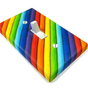 Diagonal Rainbow Stripes Light Switch Cover Rainbow Decor Gay Pride Decoration Bright Home Decor 1214