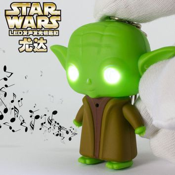 Star Wars Jedi Master Yoda Keychain With Sound and Led Flashlight