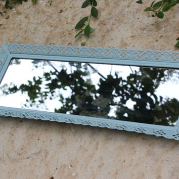 Antique rectangular mirror vanity tray hand-painted in light blue chalk paint