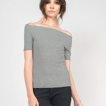 Pin Striped Off the Shoulder Top