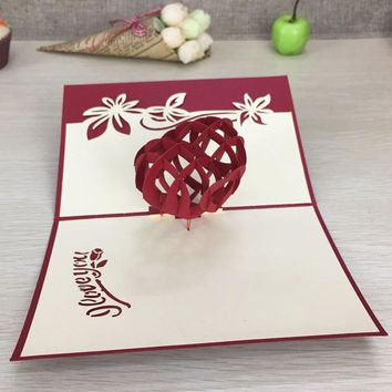 1pcs Sample Red Heart 3D Laser Cut Paper Cutting Greeting Pop Up Card Wedding Ivitation Custom Postcards VValentine's Day Gifts