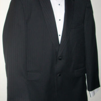 40R Seven 7 Black Tuxedo 2 Button Pinstripe Jacket Coat Wedding Formal Notched