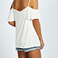 New Summer fashion Sexy Women Solid Color short sleeve straps T-shirt -0707