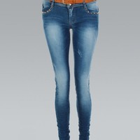 KrispOutlet Studded Crushed Effect Faded Skinny Jeans - Clothing from Krisp Clothing UK