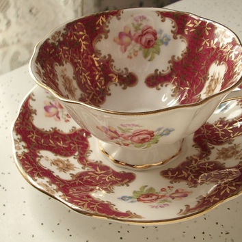 vintage bone china tea cup and saucer set, Princess Anne English tea cup, red gold pink rose cup
