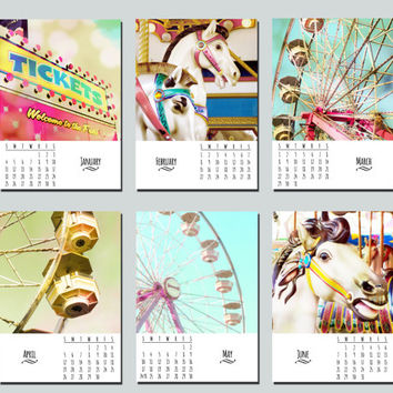 2015 desk calendar, The Carnival Collection Monthly, fine art photography, 5x7 loose leaf pages, photo calendar, Fairgrounds, Wonder, Love