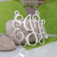 Monogram necklace - 1 inch Personalized Monogram - 925 Sterling silver Free Shipping