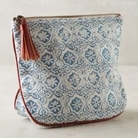 Majolica Cosmetic Case by Anthropologie in Blue Size: One Size Bags