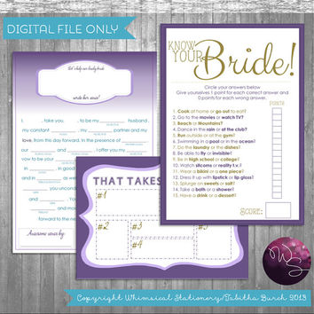 Bridal Shower Games - 3 Game Set, Instant Download! Printable Shower Games; Printable Files Only; Wedding Shower Games