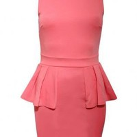 Pilot Low Back Peplum Dress in Pink