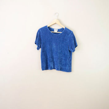 90s Soft Blue Ribbed Tee - Soft Tee Ribbed Top 90s Minimalist Soft Top Fuzzy Top 90s Shirt 90s T Shirt Women Minimalist Clothing Relaxed Tee