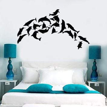 Vinyl Wall Mural Dolphins Marine Decor Ocean Stickers Unique Gift (158ig)