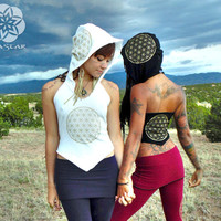 Hara Trine: Halter Top with 3 Flower of Life Screen Prints. Burning Man Festival Sacred Geometry. Oversized hood. Cotton/Lycra. S, M, L.