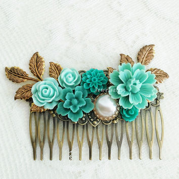 Blue Flower Aqua Teal Wedding Comb Bridal Hair Slide Elegant Romantic Hair Adornment Floral Hair Pin for Bride Turquoise Hair Jewelry