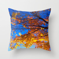 Golden Leaves Blue Skies Autumn Series #1 Throw Pillow by 2sweet4words Designs