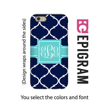 Monogram iPhone 6s case, navy morrocan tile iPhone 6 plus case, monogrammed gifts, iPhone 5s case, 3D wrap iPhone case, gift for her
