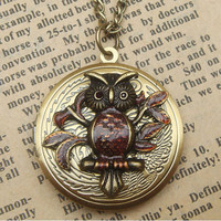Steampunk  Leaf Owl Locket Necklace Vintage Style by sallydesign