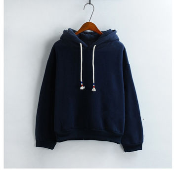 Womens Hooded Sweatshirt New Candy Color Navy Blue Long Sleeved Thick Casual All-match Solid Leisure Hoodie Loose Top