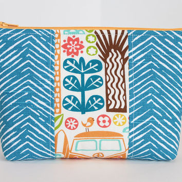 Padded  Zipper Cosmetic Case Makeup Bag or Accessory Bag with Blue Fabric and Orange Peace Van Accent