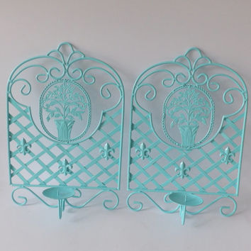 Aqua Candle Holders Turquoise Wall Hanging Art Sconce Pair of Candle Sticks Candelabra Fleur-de-lis Light Blue Wedding Decor Bridal Metal