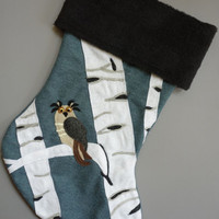 Christmas Stocking Owl in Aspen Grove Personalized Felt Stocking