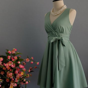 My Lady II Spring Summer Sundress Dress Sage Green Party Dress Matcha Green Bridesmaid Dress Garden Party Sundress Sage Green Dresses XS-XL
