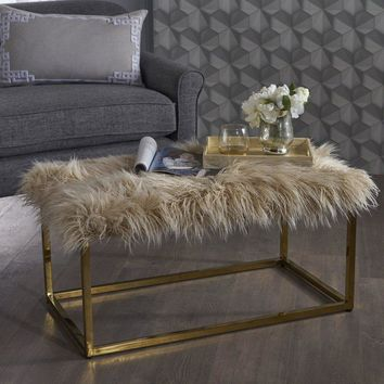 Faux Fur Rectangle Ottoman (Gold base)