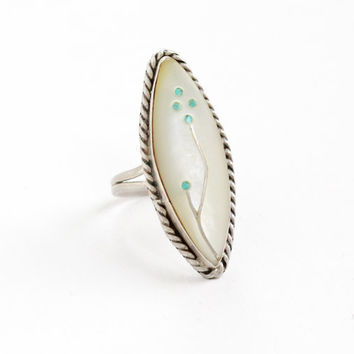 Vintage Sterling Silver Mother of Pearl Turquoise Inlay Ring - Retro 1960s Marquise Native American Zuni Jewelry