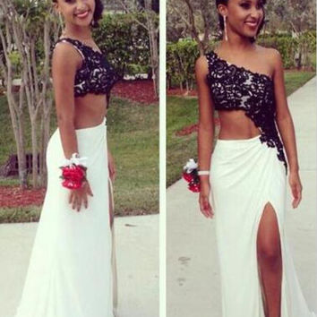 One Shoulder Black Applique Prom Dresses