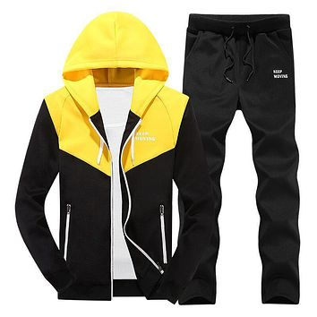 2 Piece Set Men Sporting Suit Autumn Hooded Hoodies Pants Letter Printed Casual Tracksuits