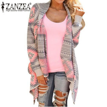 Women Cardigan Fashion 2016 Plus Size Fall Asymmetrical Long Cardigans Geometric Printing Loose Casual Spring Shrug Coats Jacket