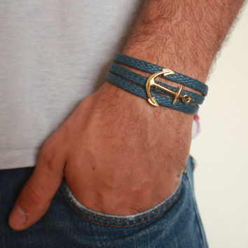 Men's Bracelet - Blue Fabric Bracelet With Gold Plated Anchor - Men's Jewelry - Nautical Jewelry - Anchor Jewelry - Gift for Him