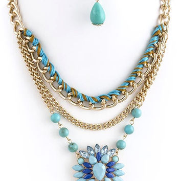 Faceted Jewel Accent Layer Necklace Set - CLEARANCE