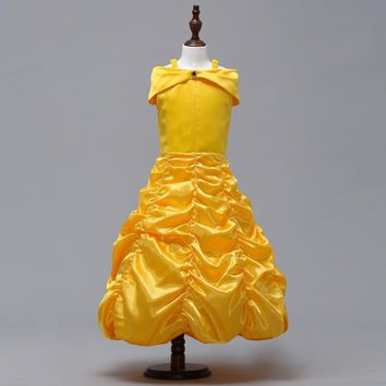 Girls Dress Belle Princess Dress For Girl Cosplay Beauty And The Beast Costumes Kids Fancy Party Wedding Dresses Halloween