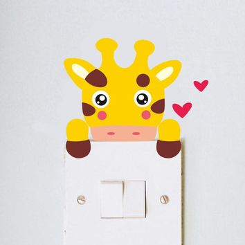 Lovely giraffe monkey cat lion bear zebra Switch Sticker Living Room bedroom Nursery Room Decor Light Wall Art Home Decoration