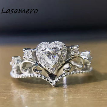 Lasamero Vintage 18k White Gold 3 05ct Certified Heart Shape Natural Diamond Ring Engagement Wedding