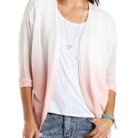 Lt Pink Combo Ombre Open Weave Poncho Cardigan by Charlotte Russe