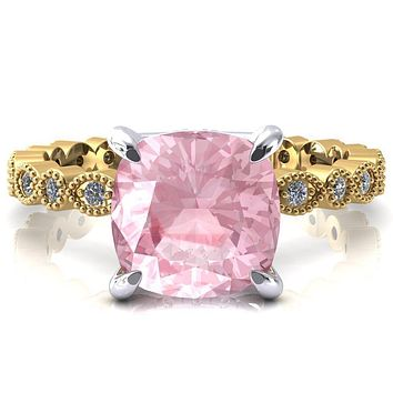 Lizette Cushion Pink Sapphire 4 Claw Prong 3/4 Eternity Milgrain Diamond Shank Engagement Ring