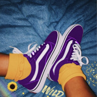 """Vans"" Old School More Color Casual Shoes Men and women classic black cloth shoes Purple"