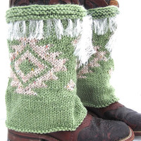 Spring Green, Southwestern Boot Covers, Western Style, Leather Boot Covers, Knitted Boot Covers, Southwestern Style, Handknit Boot Covers