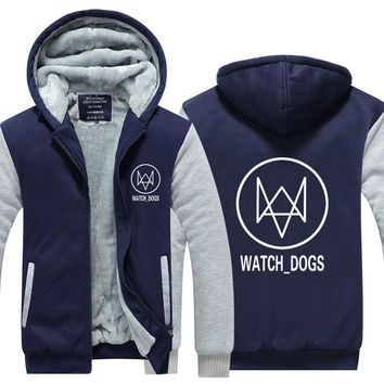 Mens Hoodie Hot Games 3A Thicken Fleece Watch Dogs 2 Winter Coat US EU Plus Size