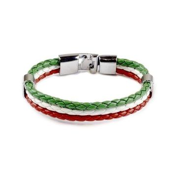 Italian Flag Leather Unisex Bracelet